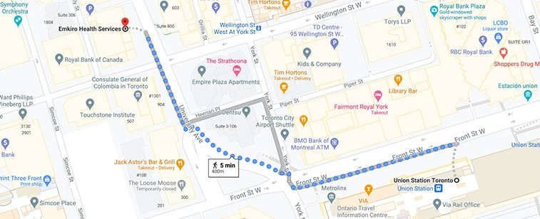 walking directions to emkiro from union station